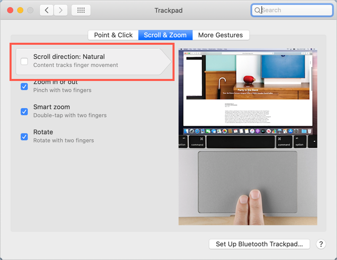 Change Trackpad Scroll Direction in Mac