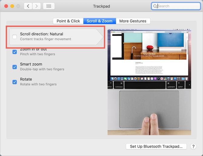 Изменение направления прокрутки трекпада на Mac