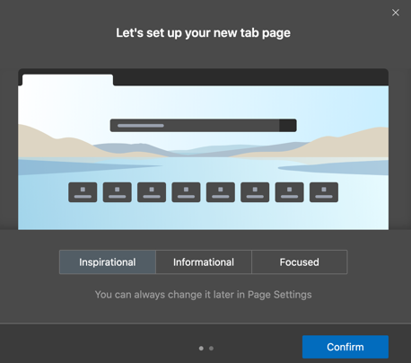 Choose New Tab Page Layout