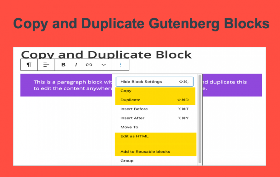 Copy and Duplicate Gutenberg Blocks
