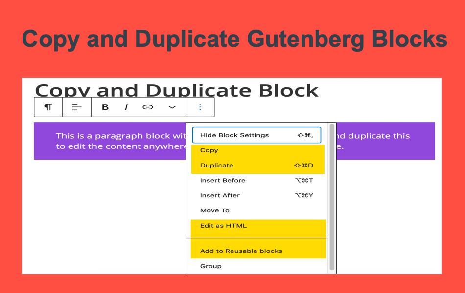 Copy and Duplicate Gutenberg Blocks