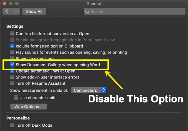 Disable Document Gallery in Mac Office