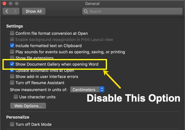 Отключить галерею документов в Mac Office