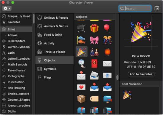 Событие Emoji на Mac