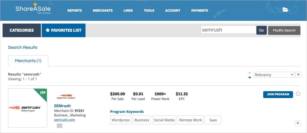 Find SEMrush Program in ShareASale