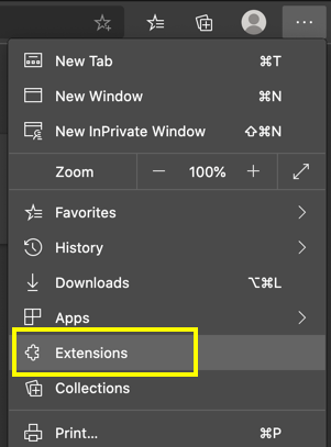 Go to Edge Extensions Settings