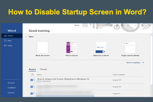 How to Disable Startup Screen in Word?