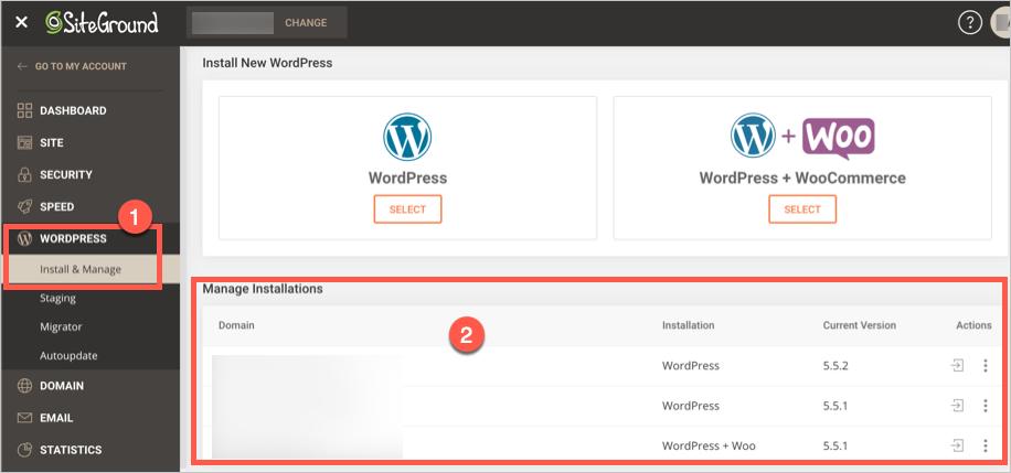 Manage WordPress Installs in SiteGround