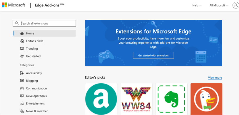 Microsoft Edge Official Extensions Store