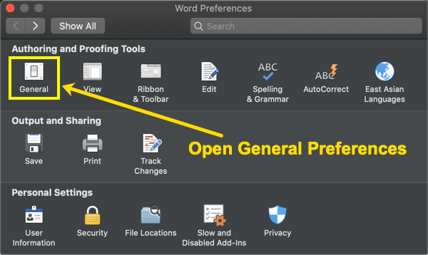 Open General Preferences