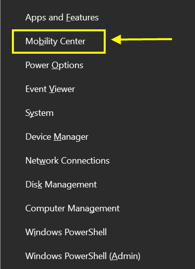 Open Mobility Center from Power Menu