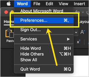 Open Word Preferences