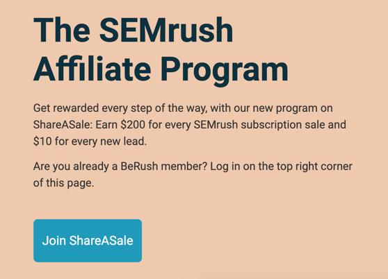 Информация о партнерском доходе SEMrush