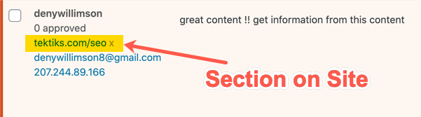 Section of Site in Comment URL
