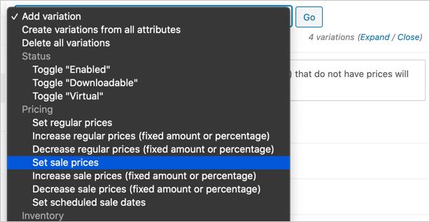 Установить вариативную цену