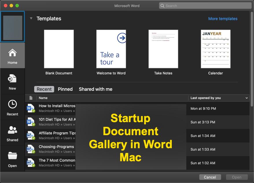 Startup Document Gallery in Word Mac