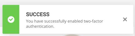 Успешно добавлена двухфакторная проверка