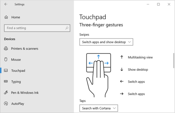 Touchpad Three and Four Fingers Swipe