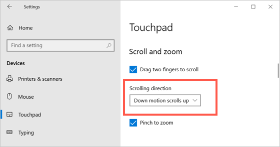 Touchpad Scroll and Zoom