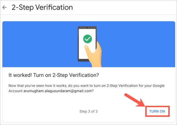 Turn On 2 Step Verification