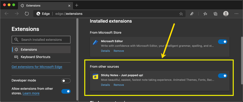 View Installed Extensions in Edge