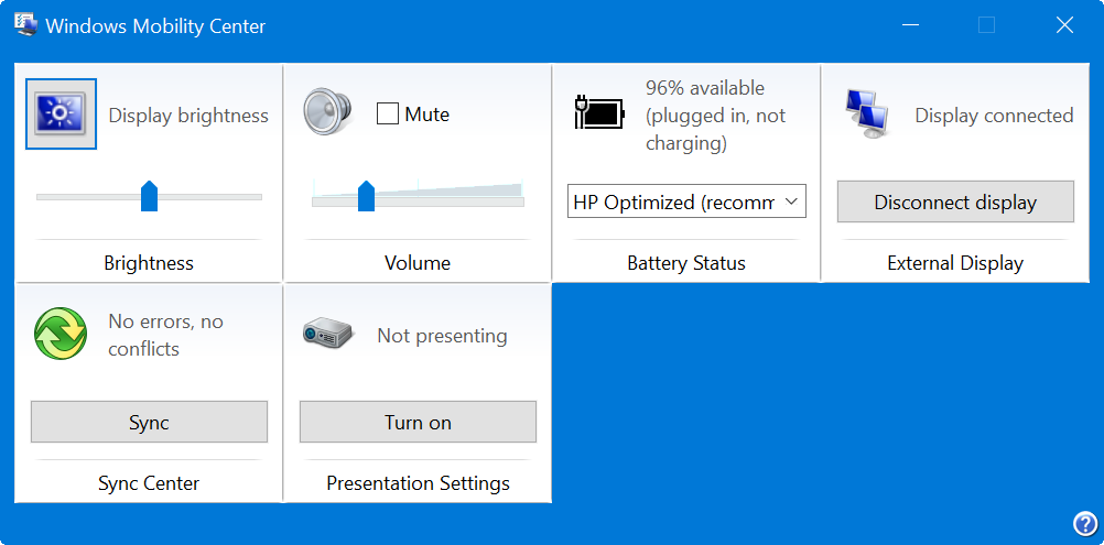 Windows Mobility Center Tool