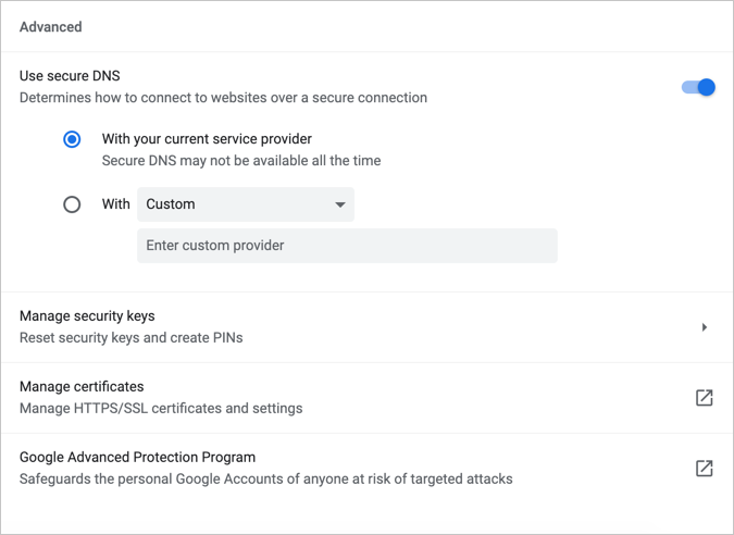 Advanced Safe Browsing Settings in Chrome