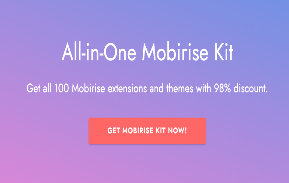 All In One Mobirise Kit Discount Deal