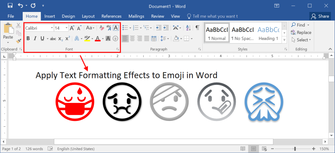 Apply Text Effects to Emoji in Word