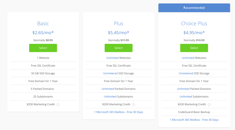 Bluehost Discounted Pricing Plan