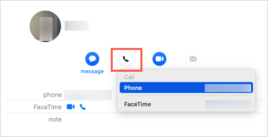 Call from Mac in Contacts
