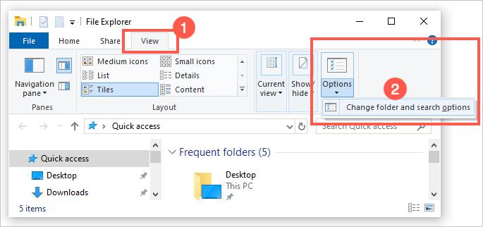 Изменить параметры папки и поиска