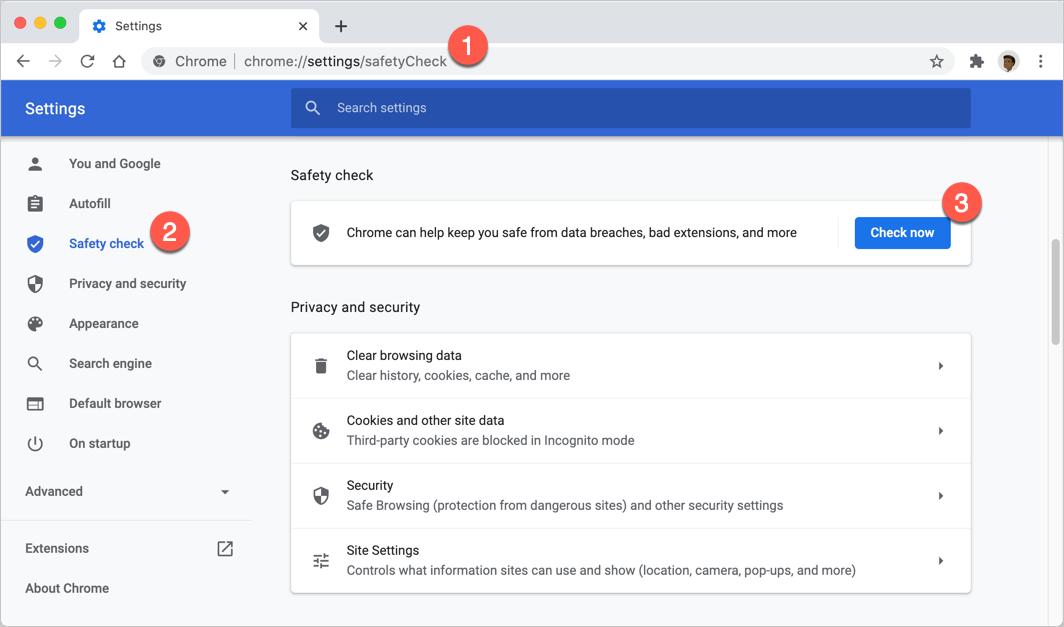 Настройки проверки безопасности Chrome