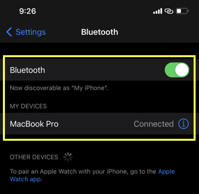 Connect Bluetooth in iPhone