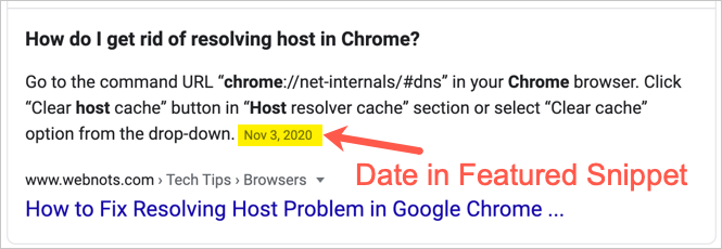 Date in Google Search Snippet