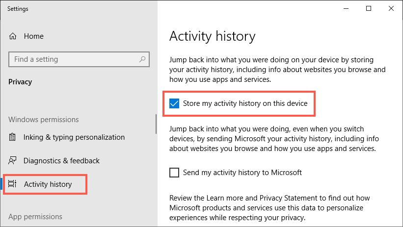 Отключить историю активности в Windows