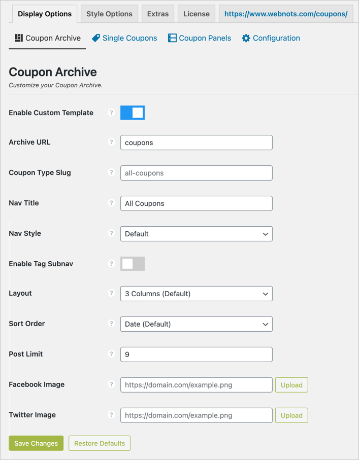Display Options Coupon Archive