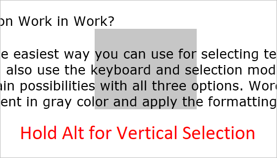 Hold Alt for Vertical Selection