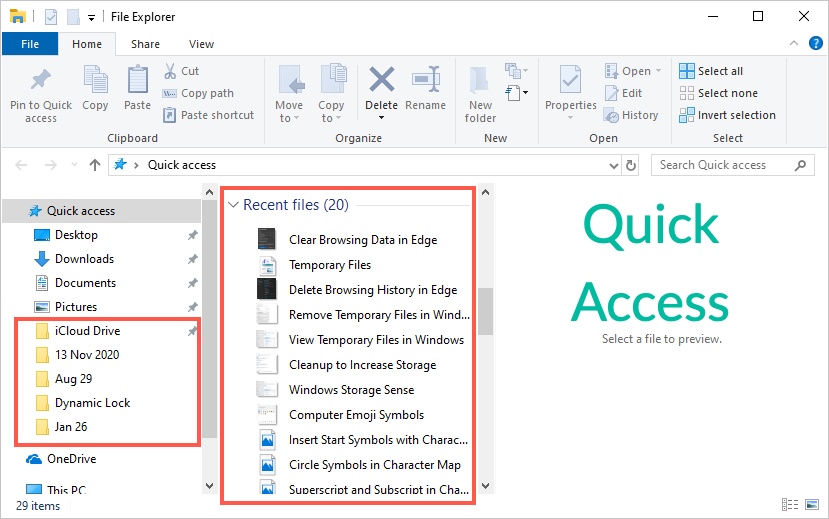 Quick Access in Windows File Explorer