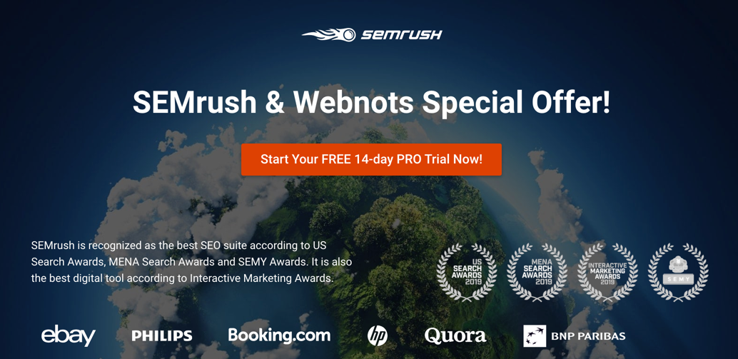SEMrush and WebNots Special Offer