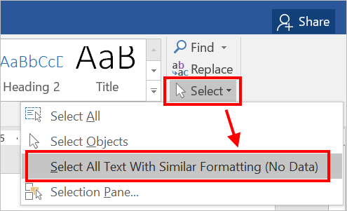 Select All Text With Similar Formatting