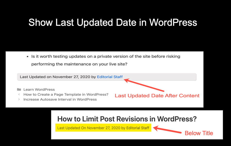 Show Last Updated Date in WordPress