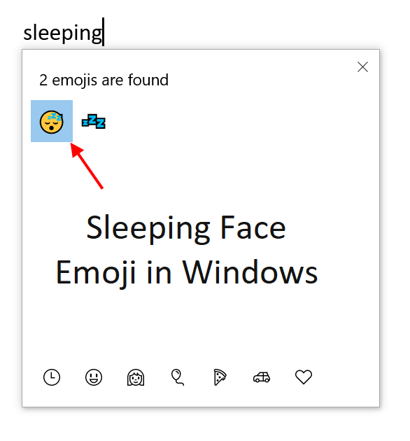 Sleeping Face Emoji in Windows