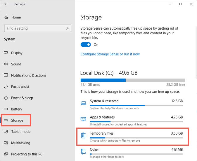 Просмотр временных файлов в Windows