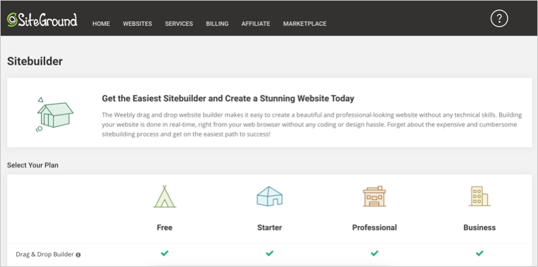 Weebly Site Builder in SiteGround