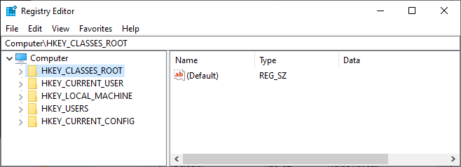 Windows Registry Editor Root Keys