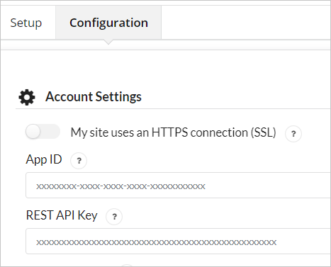 App ID and API Key Configuration page OneSignal