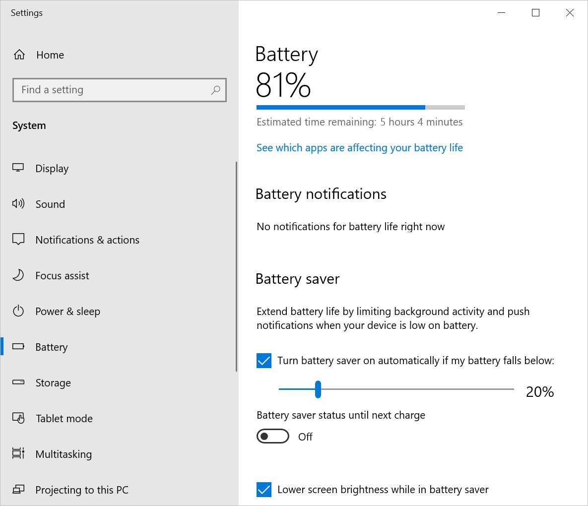 Battery Settings in Windows