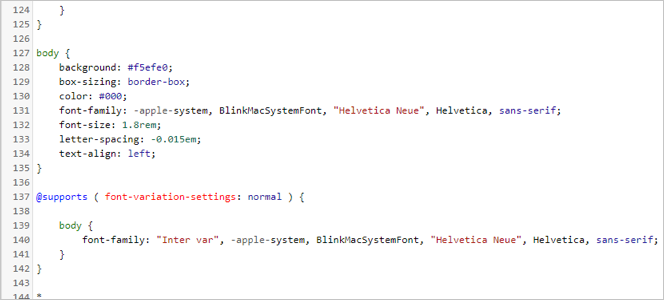 Body CSS Code