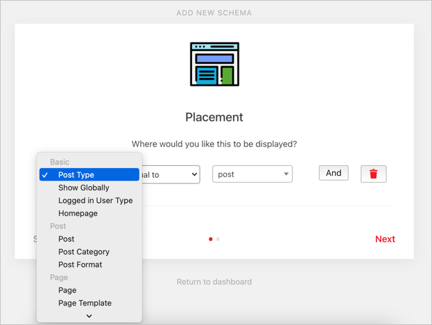 Choose Placement for Schema
